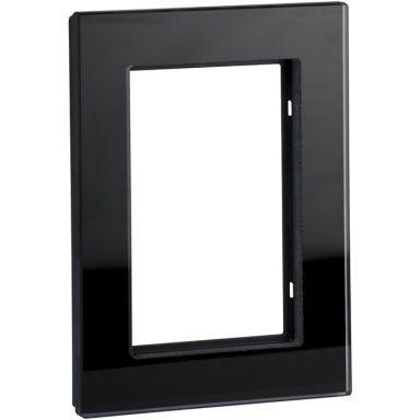 Schneider Exxact Solid Ram till 2-vägs vägguttag, glas, svart