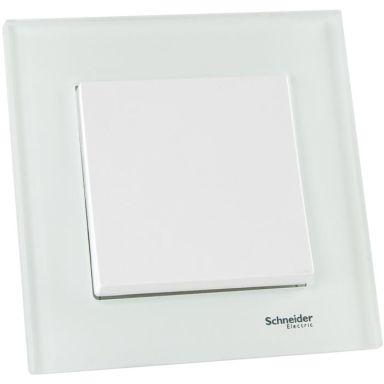 Schneider Exxact Strömbrytare infälld, vit med glasram