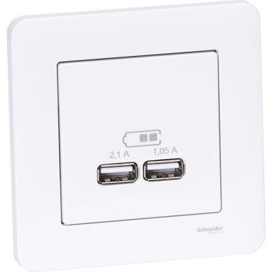 Schneider Exxact Laddstation infälld, 2 USB