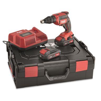 Flex DW45 18.0-EC Set Gipsskruvdragare med batterier och laddare