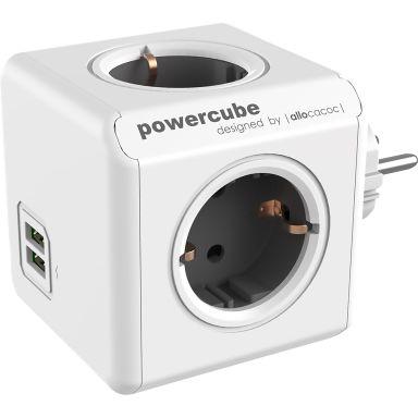 allocacoc PowerCube Grenuttag utbyggnadsdel, jordat, 4-vägs + 2 USB