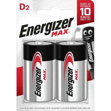 Energizer Max Batteri D, 1,5 V, 2-pack