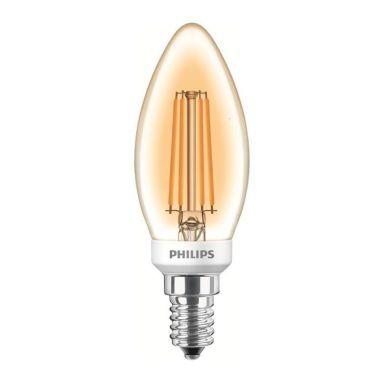 Philips Classic LED Filament LED-lampa kronljusform, guldfärgad
