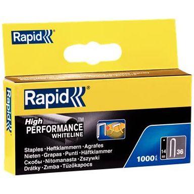 Rapid Nr 36 Bredtrådskabelklammer Stål, vit, 1000-pack