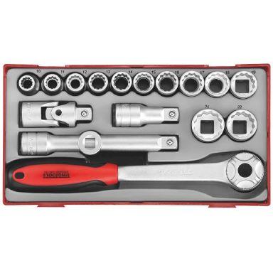 Teng Tools TT1218 Pipenøkkelsett 18 deler