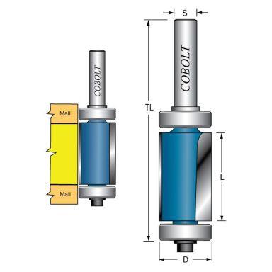 Cobolt 206-016XL Kantfräs med dubbla styrlager