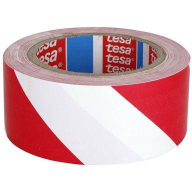 Tesa 60760 Varningstejp röd/vit, 33 m x 50 mm
