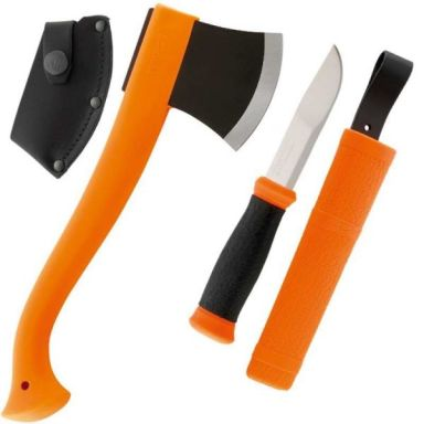 Morakniv Yxa + Allroundkniv 2000 Outdoorkit orange