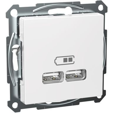 Schneider Exxact WDE002926 Laddstation 2 USB, vit