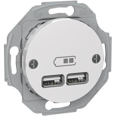 Schneider Renova WDE011760 Laddstation 2 USB, vit