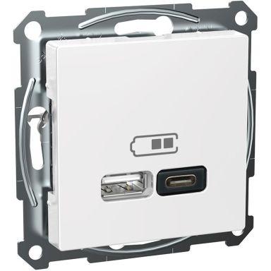 Schneider Exxact WDE002980 Laddstation USB/USB-C, vit