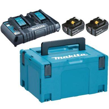 Makita Powerpack 198077-8 Ladepakke 2 stk. 6,0 Ah batterier, lader, veske