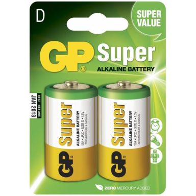 GP Batteries Super Alkaline 13A-U2/LR20 Alkaliska batterier D, 2-pack