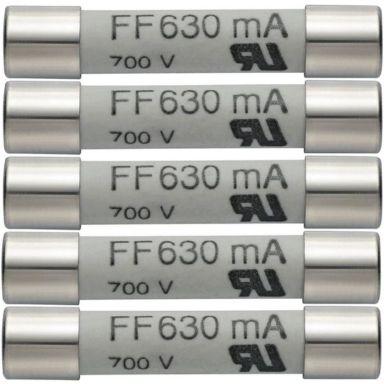 Testo 05900007 Reservsäkringar 630 mA/600 V, 5-pack
