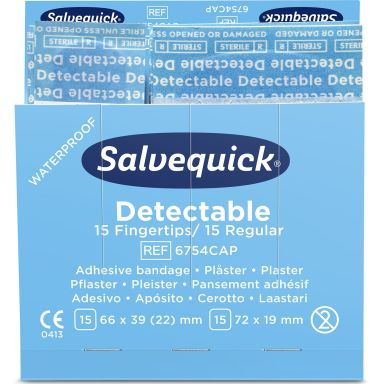 Salvequick 51030126 Blue Detectable Plåster Mix, 6x30 st