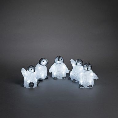 Konstsmide 6266-203 Dekorationsbeslysning pingviner, 5 st
