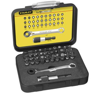STANLEY 1-13-905 Bitssats med spärringnyckel, 32 delar