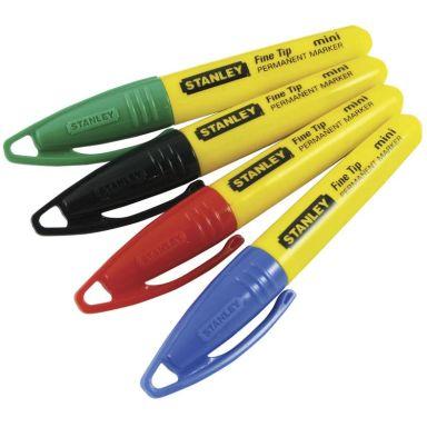 STANLEY 2-47-329 Märkpenna 4-pack, svart/röd/grön/blå