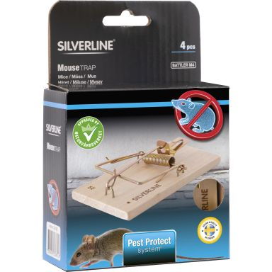 Silverline Battler M4 Musfälla trä, 4-pack