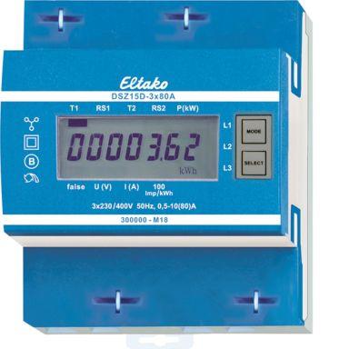 Eltako DSZ15D Energimåler 3-fas, 80 A, mid, 40-57,5 Hz, IP50