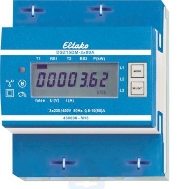 Eltako DSZ15DM Energimåler 3-fas, 80 A, M-buss, 40-57,5 Hz, IP50