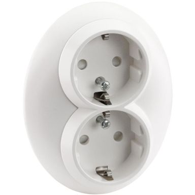 Schneider Electric Renova Vägguttag infällt, jordat, 2-vägs, vit