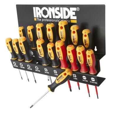 Ironside 120555 Skrutrekkersett 17 deler, med veggstativ
