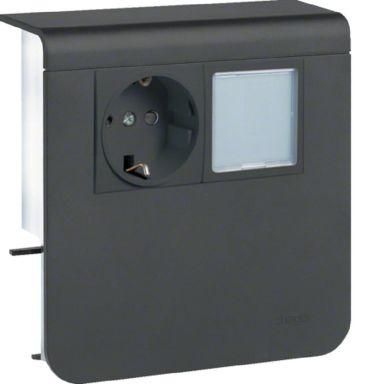 Hager SL200809259011 Uttak 1-veis + LED, 80 mm