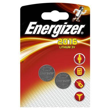 Energizer 2016 Knappcellsbatteri litium, 3 V, 2-pack