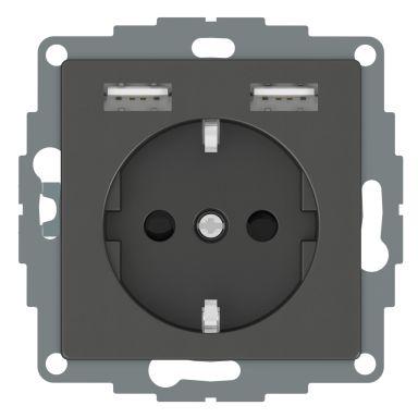 Schneider Electric WDE003179 Vägguttag 1-vägs, 2xUSB, 4A, antracit
