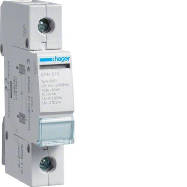 Hager SPN115 Överspänningsskydd begränsar restspänning till =1,5 kV