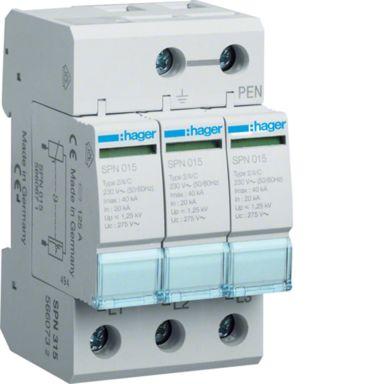Hager SPN315 Overspenningsvern begrenser restsp. til 1,5 kV