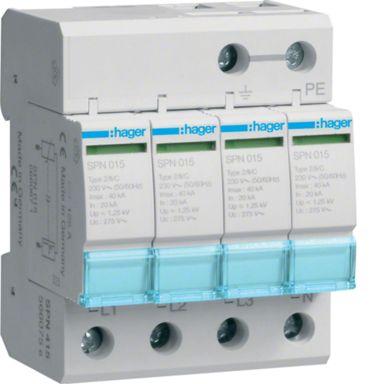 Hager SPN415 Overspenningsvern begrenser restsp. til 1,5 kV