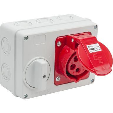 Garo 352160 Vägguttag CEE 416-6 16A, förreglerande strömbrytare