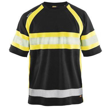 Blåkläder 333710519933M T-shirt svart/varselgul, UV-skyddad, varsel