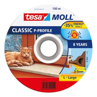 Tesa P-list 55703-00101-00 Tetningstape EPDM, 100 m, 9 mm x 5.5 mm