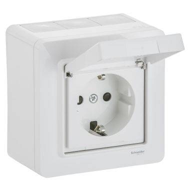 Schneider Electric WDE002978 Vegguttak 1-veis, utvendig, IP44, hvit