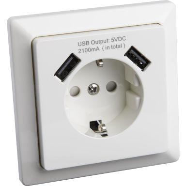 Gelia 4000038442 Vägguttag 1-vägs och 2 x USB