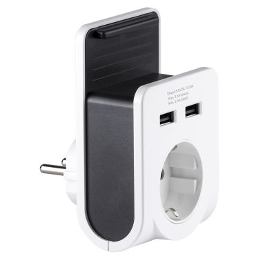 Gelia 4000060231 Laddstation 1-vägs och 2 x USB med hållare
