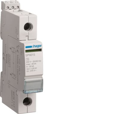Hager SPN117 Overspenningsvern begrenser restspenning til =1,5 kV