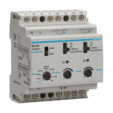 Hager EE202 Ljusrelä 2-20000 lx, 230V, IP20