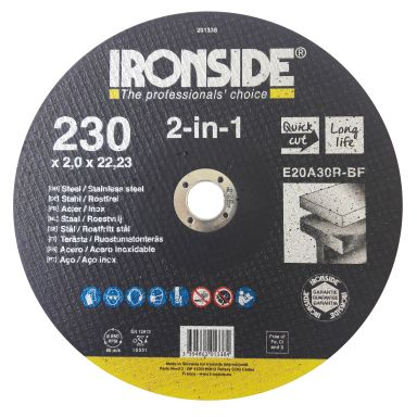 Ironside 201338 Kapskiva 230 mm, F41, E20A, 2in1
