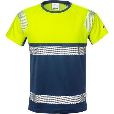 Fristads 7518 THV T-shirt varselgul/marinblå