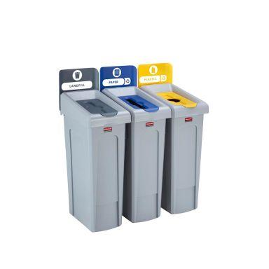 Rubbermaid Slim Jim Sorteringsstasjon deponi/papir/plast