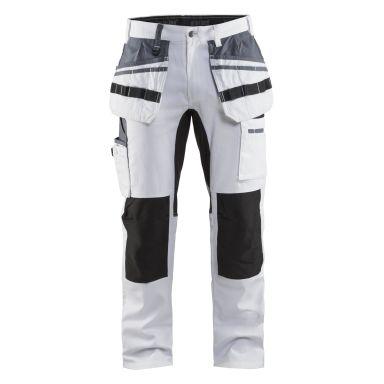 Blåkläder 191010001099C154 Målarbyxa med stretch, vit/svart