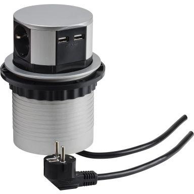 Gelia 19045601 Grenuttag 3-vägs + 2 st USB