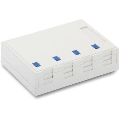 Eurolan 12B-04-04WT Uttagsbox 4 x Keystone-uttag