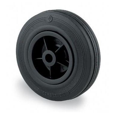 Tente PVR080 Industrihjul massivt gummi, axelhål 12 mm
