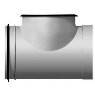 FläktGroup BDET-3-012-012 T-rör kort, Ø 125 x Ø 125 mm, muff x nippel