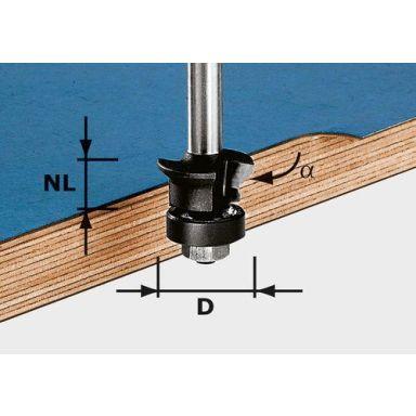 Festool HW S8 D24/0° +45° Viiste-/reunajyrsinterä kara 8mm